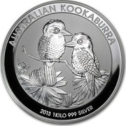 Australia 30 Dollars Australian Kookaburra 2013 KM# 1987 AUSTRALIAN KOOKABURRA 2013 1 KILO 999 SILVER P NM coin reverse