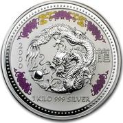 Australia 30 Dollars Lunar Dragon (Colorized) 2000 KM# 525.2 2000 1 KILO 999 SILVER coin reverse