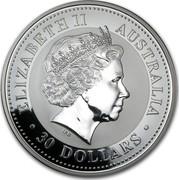 Australia 30 Dollars Lunar Horse (Colorized) 2002 KM# 586a ELIZABETH II AUSTRALIA 30 DOLLARS IRB coin obverse