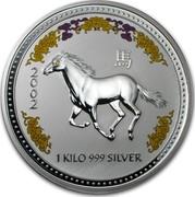Australia 30 Dollars Lunar Horse (Colorized) 2002 KM# 586a 2002 1 KILO 999 SILVER coin reverse