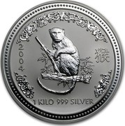 Australia 30 Dollars Lunar Monkey 2004 KM# 677.1 2004 1 KILO 999 SILVER SA coin reverse