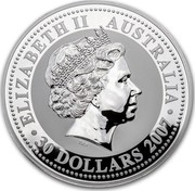Australia 30 Dollars Lunar Mouse 2007 KM# 1898 ELIZABETH II AUSTRALIA 30 DOLLARS 2007 IRB coin obverse