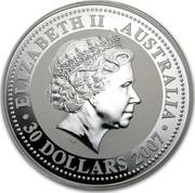 Australia 30 Dollars Lunar Ox 2009 KM# 1899 ELIZABETH II AUSTRALIA 30 DOLLARS 2007 IRB coin obverse