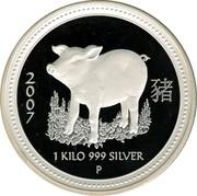 Australia 30 Dollars Lunar Pig 2007 KM# 1897 2007 1 KILO 999 SILVER P coin reverse