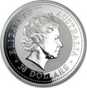 Australia 30 Dollars Lunar Rabbit 1999 KM# 505 ELIZABETH II AUSTRALIA 30 DOLLARS IRB coin obverse