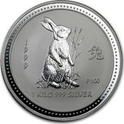 Australia 30 Dollars Lunar Rabbit 1999 KM# 505 1999 1 KILO 999 SILVER P100 coin reverse