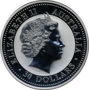 Australia 30 Dollars Lunar Rooster (Colorized) 2005 KM# 697 ELIZABETH II AUSTRALIA 30 DOLLARS IRB coin obverse