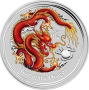 Australia 30 Dollars Year of the Dragon (Colorized) 2012 KM# 1668a YEAR OF THE DRAGON P coin reverse