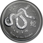 Australia 30 Dollars Year of the Snake 2013 KM# 1972 YEAR OF THE SNAKE P coin reverse