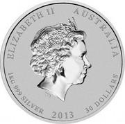 Australia 30 Dollars Year of the Snake (Colorized) 2013 KM# 1834a ELIZABETH II AUSTRALIA 1 KG 999 SILVER 2013 30 DOLLARS IRB coin obverse