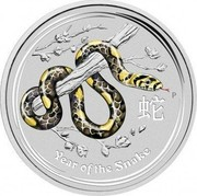 Australia 30 Dollars Year of the Snake (Colorized) 2013 KM# 1834a YEAR OF THE SNAKE P coin reverse