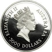 Australia 3000 Dollars (Koala) KM# 187 ELIZABETH II AUSTRALIA 3000 DOLLARS coin obverse