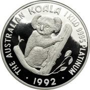Australia 3000 Dollars (Koala) KM# 187 THE AUSTRALIAN KOALA 1 KILO 9995 PLATINUM 1992 coin reverse