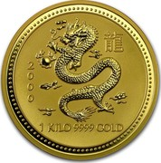 Australia 3000 Dollars Lunar Dragon 2000 KM# 703 2000 1 KILO 9999 GOLD coin reverse
