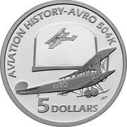 Australia 5 Dollars Aviation history - Avro 504K 2008 Proof KM# 1072 AVIATION HISTORY-AVRO 504K AVRO 5 DOLLARS coin reverse