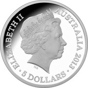 Australia 5 Dollars Centenary of Canberra 2013 KM# 2154 ELIZABETH II AUSTRALIA 2013 5 DOLLARS IRB coin obverse