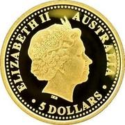 Australia 5 Dollars Discover Australia - Platypus 2007 Proof KM# 977 ELIZABETH II AUSTRALIA 5 DOLLARS coin obverse