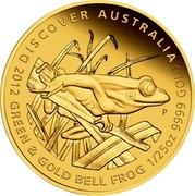 Australia 5 Dollars Green and Gold Bell Frog in grass 2012 P Proof KM# 1716 DISCOVER AUSTRALIA 2012 GREEN & GOLD BELL FROG 1/25OZ 9999 GOLD P WR coin reverse