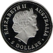 Australia 5 Dollars Koala 2002 P Proof KM# 1868 ELIZABETH II AUSTRALIA • 5 DOLLARS • IRB coin obverse