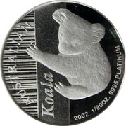 Australia 5 Dollars Koala 2002 P Proof KM# 1868 AUSTRALIAN KOALA 2002 1/20 OZ 9995 PLATINUM P coin reverse