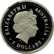 Australia 5 Dollars Koala 2003 P Proof KM# 1869 ELIZABETH II AUSTRALIA 5 DOLLARS coin obverse
