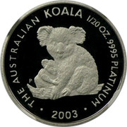 Australia 5 Dollars Koala 2003 P Proof KM# 1869 THE AUSTRALIAN KOALA 1/20 OZ. 9995 PLATINUM 2003 coin reverse
