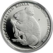 Australia 5 Dollars Koala 2004 P Proof KM# 1870 THE AUSTRALIAN KOALA 2004 1/20 OZ. 9995 PLATINUM coin reverse
