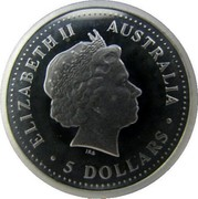 Australia 5 Dollars Koala 2005 P Proof KM# 1871 ELIZABETH II AUSTRALIA 5 DOLLARS coin obverse
