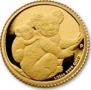 Australia 5 Dollars Koalas on a tree branch 2008 KM# 1872 1/25 OZ 9999 GOLD P SB coin reverse