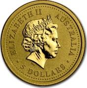 Australia 5 Dollars Lunar Dragon 2000 KM# 569 ELIZABETH II AUSTRALIA 5 DOLLARS IRB coin obverse
