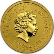 Australia 5 Dollars Lunar Goat 2003 KM# 1887 ELIZABETH II AUSTRALIA 5 DOLLARS IRB coin obverse