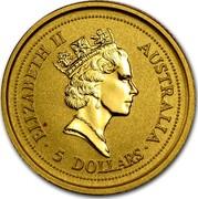 Australia 5 Dollars Lunar Ox 1997 KM# 567 ELIZABETH II AUSTRALIA 5 DOLLARS RDM coin obverse