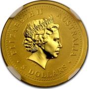 Australia 5 Dollars Lunar Rabbit 1999 KM# 425 ELIZABETH II AUSTRALIA 5 DOLLARS IRB coin obverse