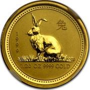 Australia 5 Dollars Lunar Rabbit 1999 KM# 425 1999 1/20 OZ 9999 GOLD P100 coin reverse
