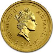 Australia 5 Dollars Lunar Rat 1996 KM# 566 ELIZABETH II AUSTRALIA 5 DOLLARS RDM coin obverse