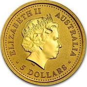 Australia 5 Dollars Lunar Rooster (Colorized) 2005 KM# 1022a ELIZABETH II AUSTRALIA 5 DOLLARS IRB coin obverse