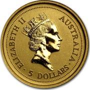 Australia 5 Dollars Lunar Tiger 1998 KM# 568 ELIZABETH II AUSTRALIA 5 DOLLARS RDM coin obverse