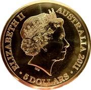 Australia 5 Dollars Queen's Visit Commonwealth Heads of Government Meeting 2011 KM# 1633 ELIZABETH II AUSTRALIA 2011 5 DOLLARS IRB coin obverse