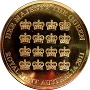 Australia 5 Dollars Queen's Visit Commonwealth Heads of Government Meeting 2011 KM# 1633 HER MAJESTY THE QUEEN ROYAL VISIT AUSTRALIA 2011 coin reverse