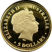 Australia 5 Dollars Salt water crocodile 2006 Proof KM# 950 ELIZABETH II AUSTRALIA 5 DOLLARS coin obverse