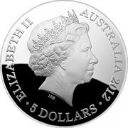 Australia 5 Dollars Southern Sky - Crux 2012 KM# 1853 ELIZABETH II AUSTRALIA 2012 5 DOLLARS IRB coin obverse