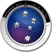 """Australia 5 Dollars Southern Sky - Crux 2012 KM# 1853 SOUTHERN SKY RA 12H 30M 00S CRUX DEC - 60° 00' 00"""" SOUTH NORTH EAST WEST coin reverse"""