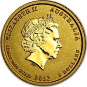 Australia 5 Dollars Year of the Dragon 2012 KM# 1670 ELIZABETH II AUSTRALIA 1/20 OZ 9999 GOLD 2012 5 DOLLARS IRB coin obverse