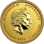 Australia 5 Dollars Year of the Dragon (Colorized) 2012 KM# 1679 ELIZABETH II AUSTRALIA 1/20 OZ 9999 GOLD 2012 5 DOLLARS IRB coin obverse