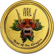 Australia 5 Dollars Year of the Dragon (Colorized) 2012 KM# 1679 YEAR OF THE DRAGON P coin reverse