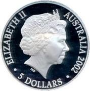 Australia 5 Dollars Year of the Outback 2002 KM# 662 ELIZABETH II AUSTRALIA 2002 5 DOLLARS IRB coin obverse