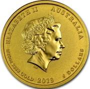 Australia 5 Dollars Year of the Snake 2013 KM# 2088 ELIZABETH II AUSTRALIA 1/20 OZ 9999 GOLD 2013 5 DOLLARS IRB coin obverse