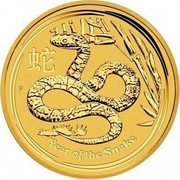 Australia 5 Dollars Year of the Snake 2013 KM# 1997 YEAR OF THE SNAKE P coin reverse