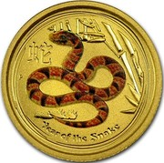 Australia 5 Dollars Year of the Snake 2013 KM# 2088 YEAR OF THE SNAKE P coin reverse