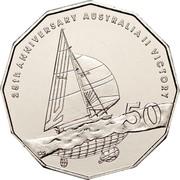 Australia 50 Cents 25th Anniversary Australia's Win of the America's Cup 2008 KM# 1062 25TH ANNIVERSARY AUSTRALIA II VICTORY 50 coin reverse